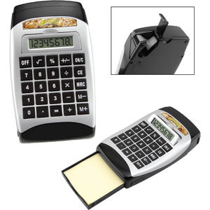 Printed Desktop Calculator With Tape Dispenser And Note Pad Pad